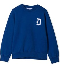 dondup blue cotton sweatshirt