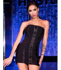 * chilirose zwart satijnen mini jurk. (m & l)