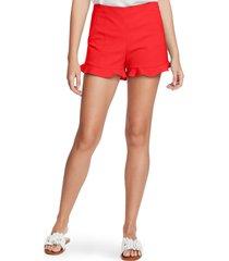women's 1.state ruffle hem flat front shorts, size 0 - red