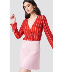 kristin sundberg for na-kd asymmetric denim skirt - pink