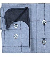 sleeve7 heren overhemd blauw geruit flannel