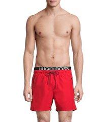 boss hugo boss men's thornfish logo swim trunks - red - size s
