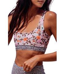 women's maaji rose reversible lace-up bikini top, size x-large - pink