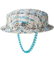 maison michel melanie tweed boater hat - white