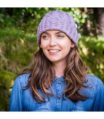 ladies' cashmere blend aran hat purple one size