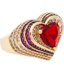 anel kumbayá coraçáo semijoia banho de ouro 18k cristal vermelho rubi com cravaçáo de zircônias  detalhe em ródio - tricae