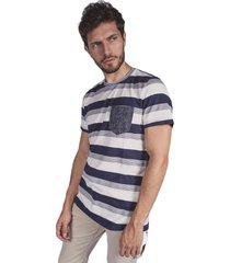camiseta pmp slim rayas con tejidos azul oscuro