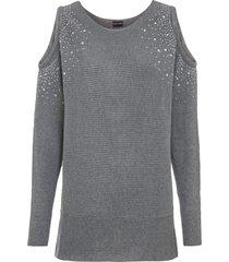maglione monospalla con cut-out e strass (grigio) - bodyflirt