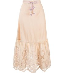 zimmermann floral-lace a-line midi skirt
