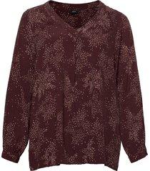 blouse viscose plus print v neck blus långärmad röd zizzi