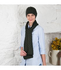 women's honeycomb aran hat & scarf set green