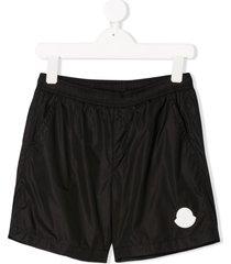 moncler enfant nylon logo swim shorts - black