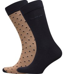 2-pack solid and dot socks underwear socks regular socks multi/mönstrad gant