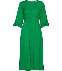 midi length v-neck dress with ruffles knälång klänning grön scotch & soda