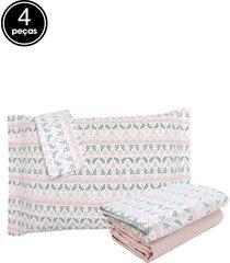 jogo de cama 4pçs casal artex total mix eucalipto percal 150 fios rosa