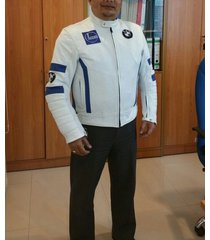 men white bmw racing motorcycle perforated leather jacket xs to 6xl