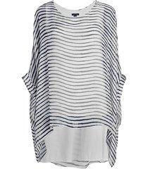 saks fifth avenue women's striped silk poncho top - brown animal print - size s