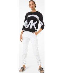 mk pullover in cotone con logo - nero (nero) - michael kors