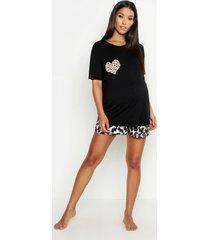 positiekleding met luipaardprint en korte pyjama-set, zwart