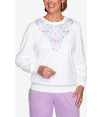 women's missy long weekend embroidered yoke pullover