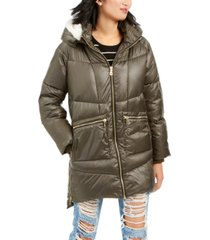 kendall + kylie hooded faux-fur-trim puffer coat