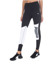 calça legging puma logo graphic tight - feminina - preto/branco