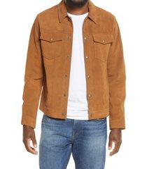 men's frame suede trucker jacket, size xx-large - brown