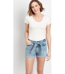 silver jeans co.® womens medium belted 3in shorts blue denim - maurices