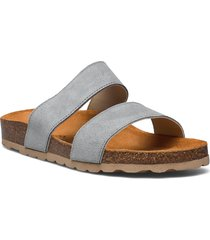 twin strap slip in shoes summer shoes flat sandals grå bianco