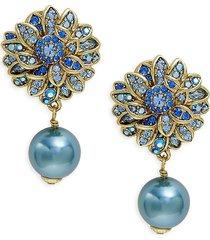 heidi daus women's crystal & glass pearl flower drop earrings