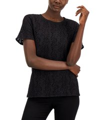 alfani lace overlay top, created for macy's