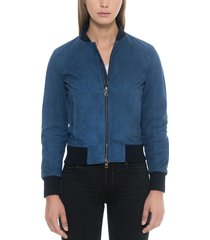 forzieri designer leather jackets, blue suede women's bomber jacket
