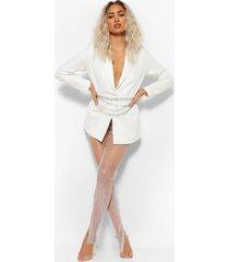 mesh leggings met split en steentjes, white