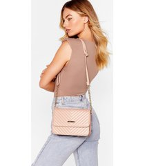 womens want feelin' quilt-y faux leather crossbody bag - nude