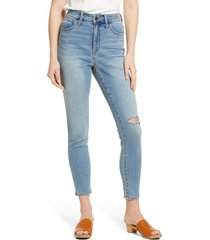 women's madewell curvy roadtripper authentic ripped skinny jeans, size 26 - blue