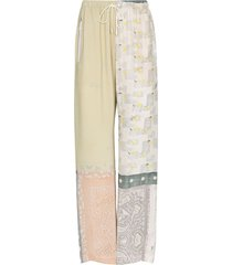marine serre patchwork silk trousers - yellow