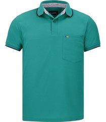 camiseta tipo polo verde jade hamer bolsillo bordado