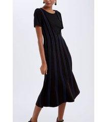 vestido salopete bicolor preto/azul pool