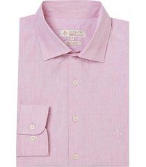 camisa dudalina manga longa fil a fil melange masculina (rosa claro, 7)