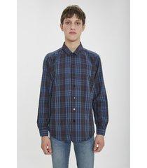 camisa azul airborn plaid