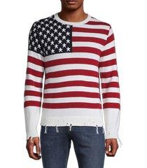 valentino men's american flag cashmere sweater - avorio - size s