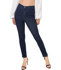 calça jeans my favorite thing(s) slim pespontos azul-marinho