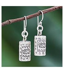 silver dangle earrings, 'walking elephant' (thailand)