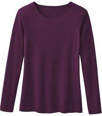 biologisch katoenen shirt met ronde hals en lange mouwen, plum 34