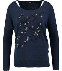 guess zachte blauwe trui met studs en steentjes