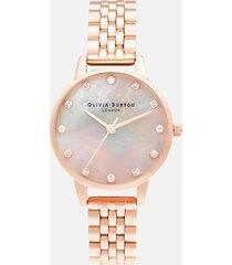 olivia burton women's classics midi mop dial watch - rose gold