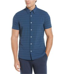 men's motion slim fit stretch solid-non-solid stripe short sleeve button-down shirt