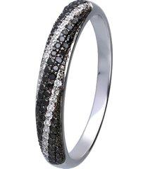 anello in oro bianco con diamanti bianchi e neri 0,078 ct per donna