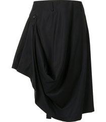 comme des garçons homme plus draped asymmetric-hem skirt - black