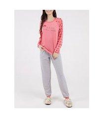 pijama longo feminino vermelho